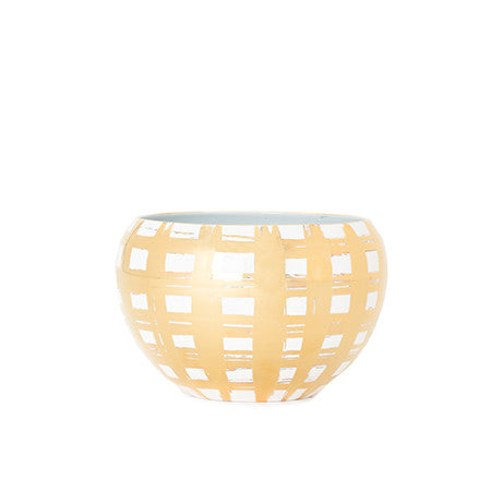 Gold Plaid Small Belly Bowl