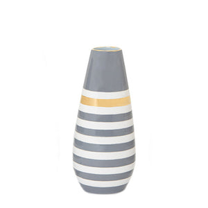 Lucky Stripe Teardrop Vase- Charcoal