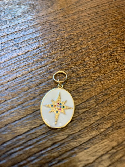 Gemelli Charm - White Oval with 8 Point Star