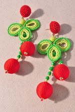 Red and Green Beaded Earrings