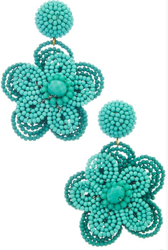 IILord Beaded Flower Earrings - Turquoise
