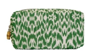 Green Glam Ikat Twill Pouch