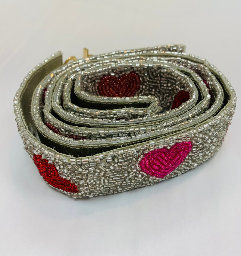 Beaded Purse Strap - Silver with Red & Pink Hearts
