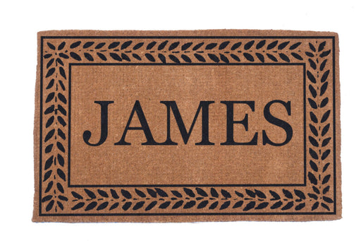 Hand Woven Leafy Vines Bordered Personalized Coco Doormat