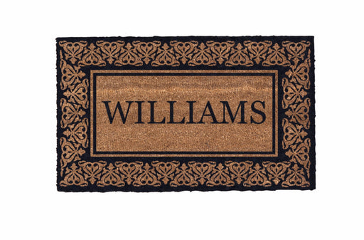 Low Profile Blooming Hearts Bordered Personalized Coco Doormat