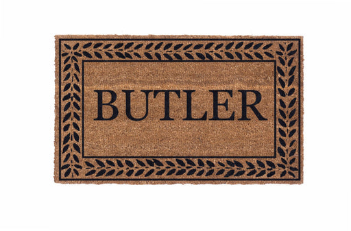 Low Profile Leafy Vines Bordered Personalized Coco Doormat