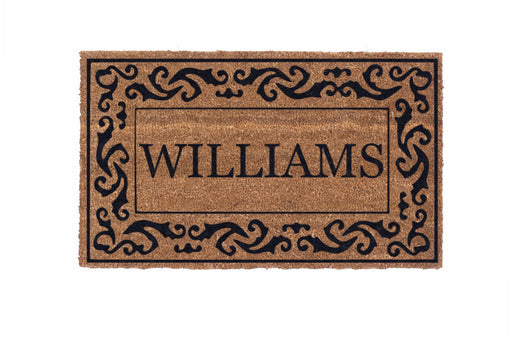 Low Profile Rolling Scrolls Bordered Personalized Coco Doormat