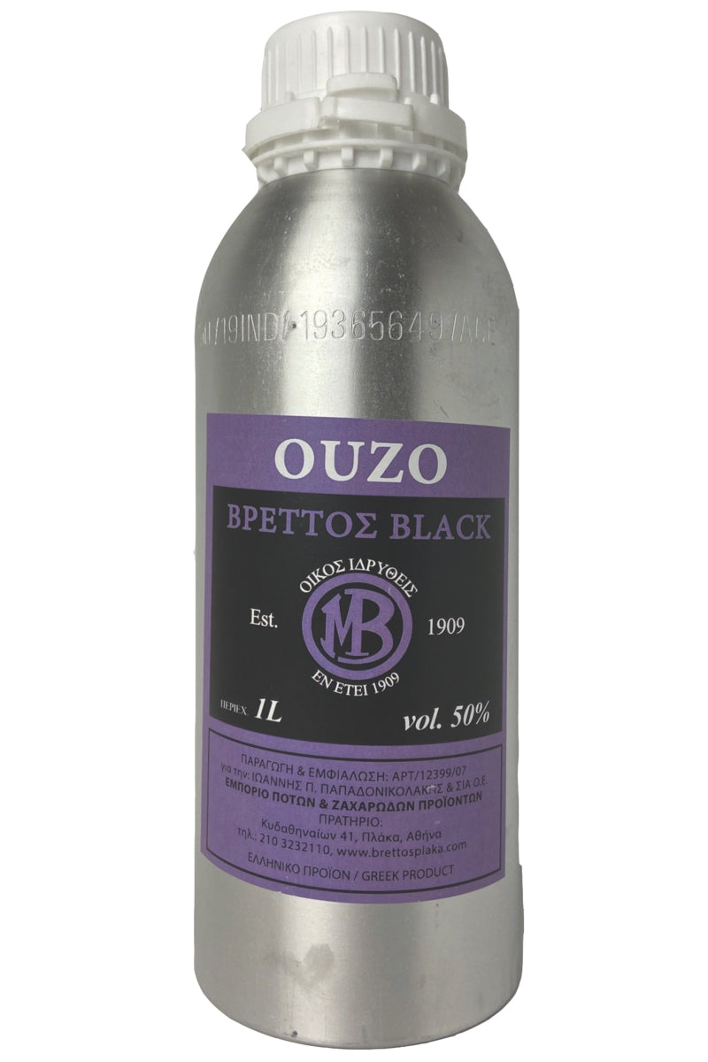Ouzo Brettos Black Label, metallic canister 1lt - 50% alcohol