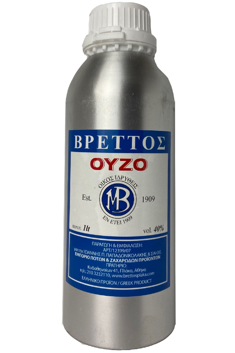 Ouzo Brettos Blue Label, metallic canister 1lt