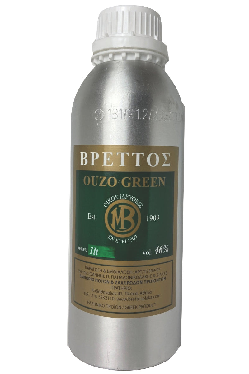 Ouzo Brettos Green Label, metallic canister 1lt - 46% alcohol