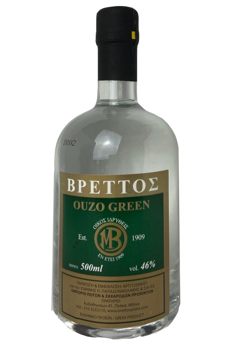 Ouzo Brettos Green Label, 500ml - 46% alcohol