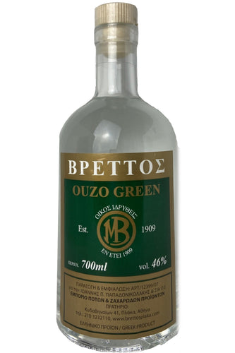 Ouzo Brettos Green Label, 700ml - 46% alcohol