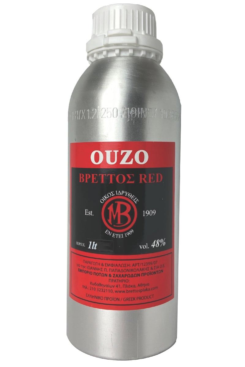 Ouzo Brettos Red Label, metallic canister 1lt