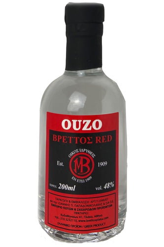 Ouzo Brettos Red Label, 200ml - 48% alcohol