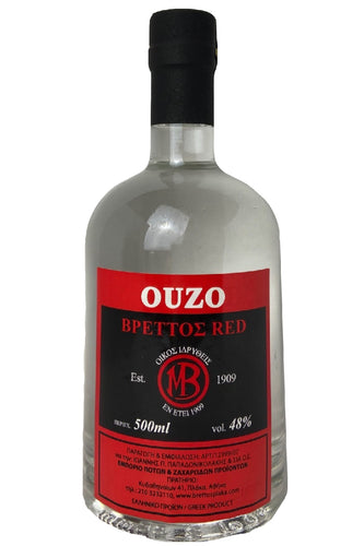 Ouzo Brettos Red Label, 500ml - 48% alcohol
