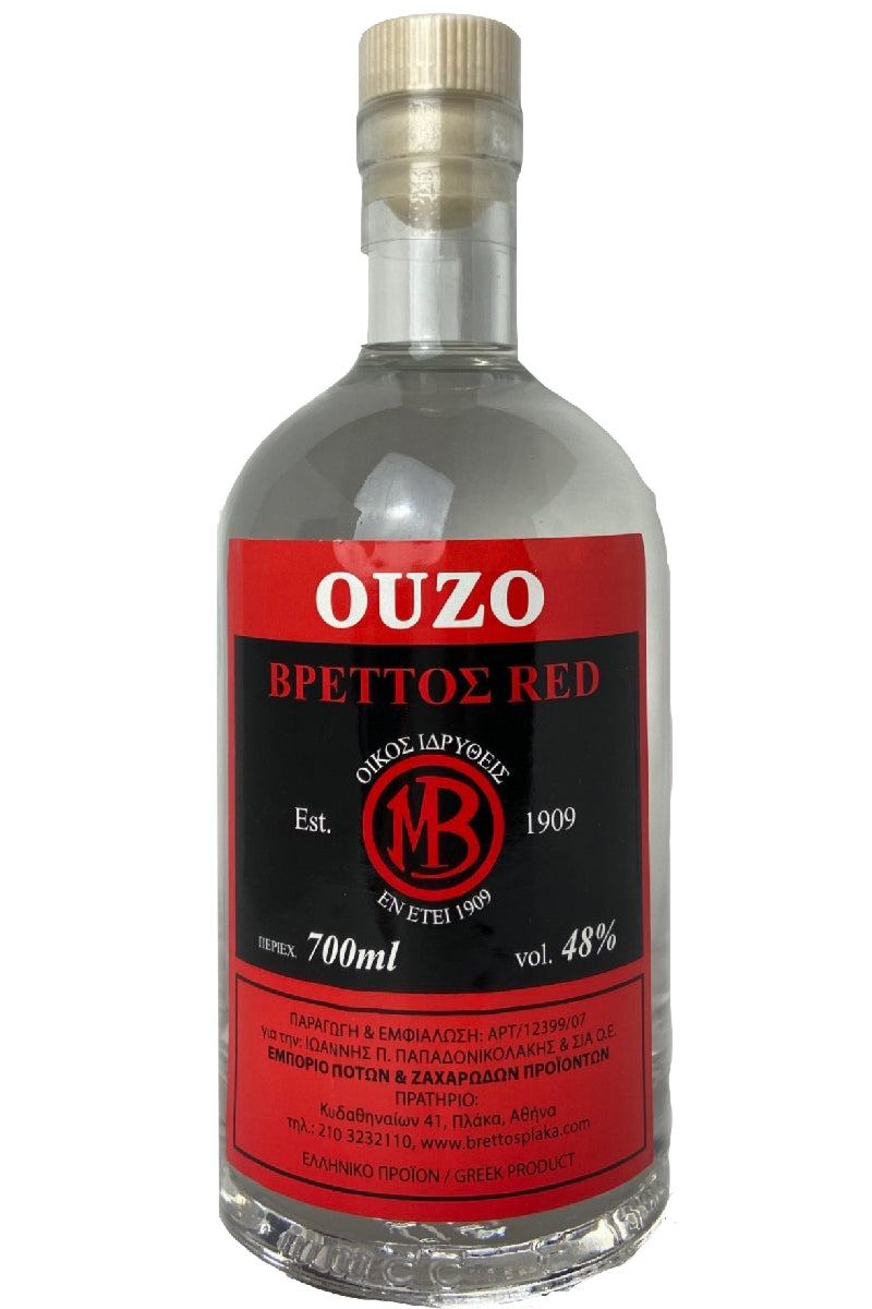 Ouzo Brettos Red Label, 700ml - 48% alcohol
