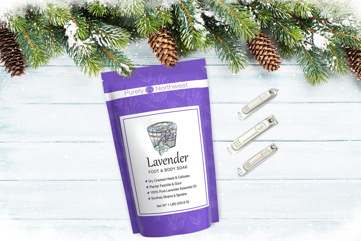 Lavender epsom salt and nail clippers