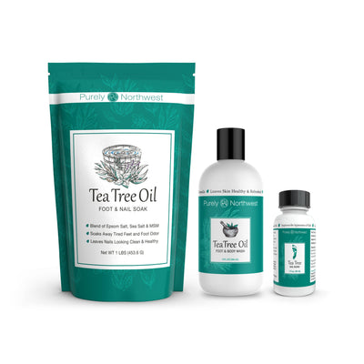 Tea Tree Foot & Toenail Kit: Tea Tree Foot & Body Wash, Soak and Nail Blend