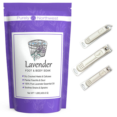 Lavender foot soak with nail clippers