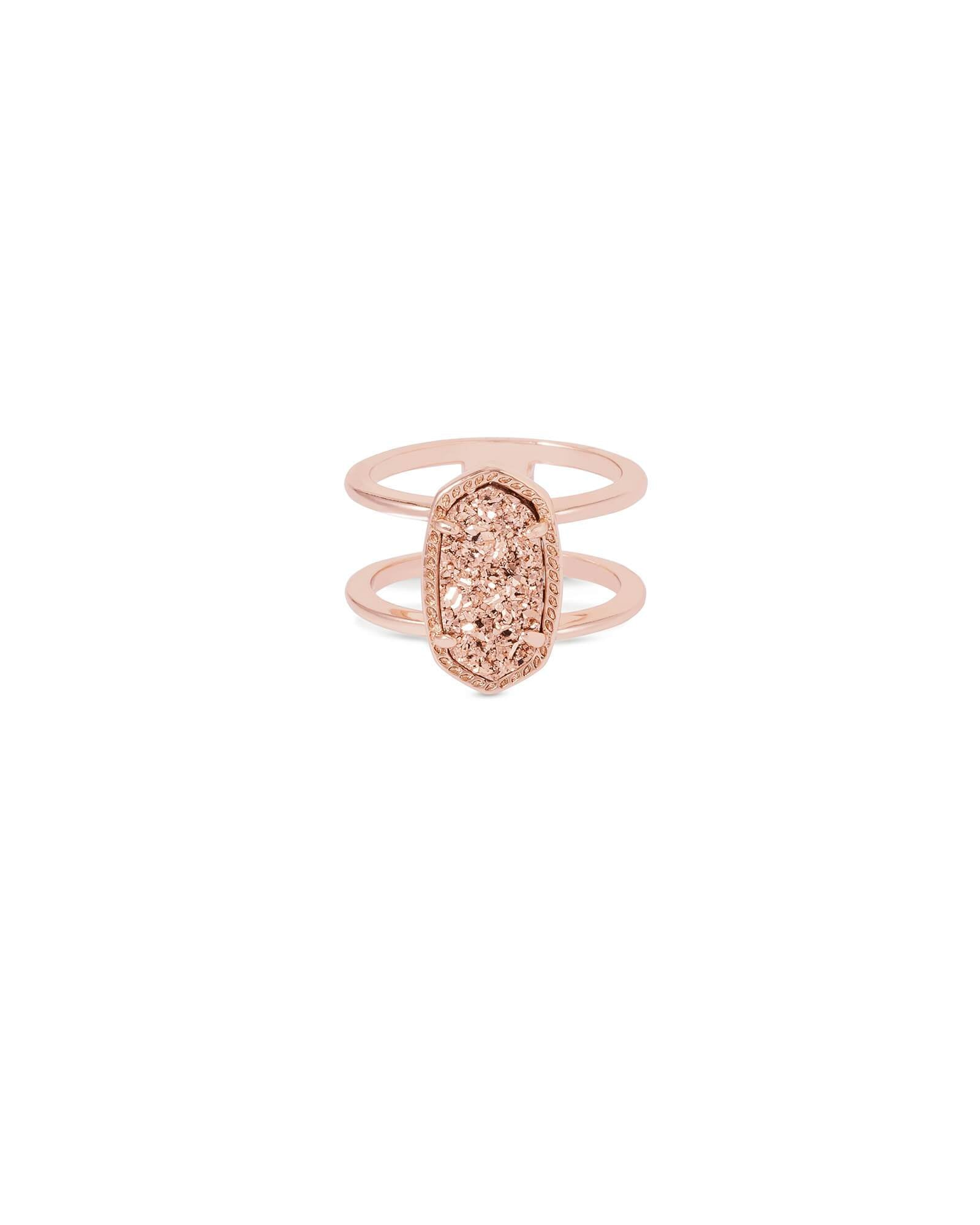 Elyse Size 8 Ring Rose Gold Drusy