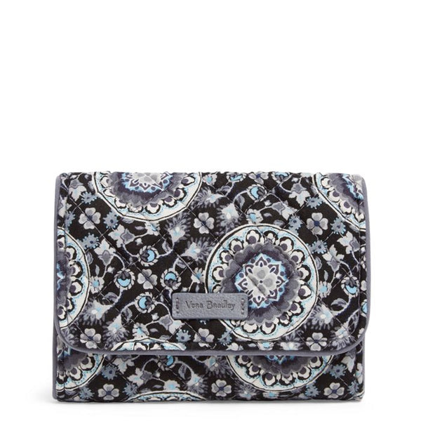 ICONIC RFID RILEY COMPACT WALLET-CHARCOAL MEDALLION
