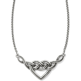 Interlok Silver V Heart Necklace