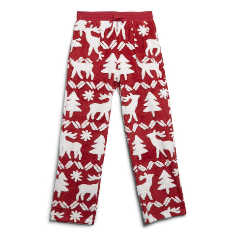 Jacquard Fleece Pajama Pants Reindeer Intarsia Red Small