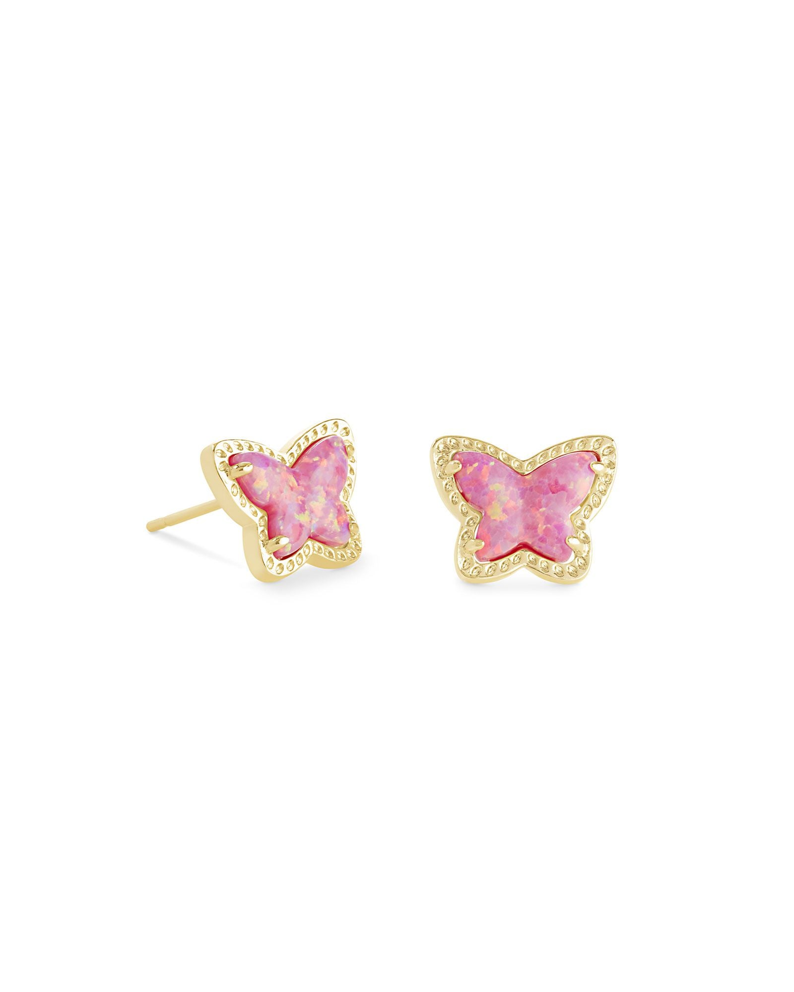Lillia Butterfly Stud Earring Gold Rose Pink Opal