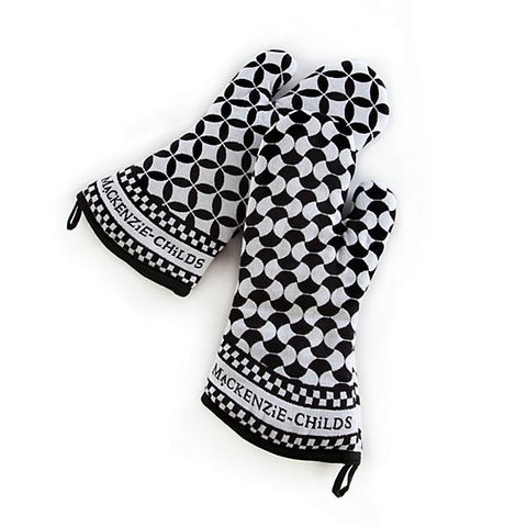 Geo Oven Mitts Black 2 Set