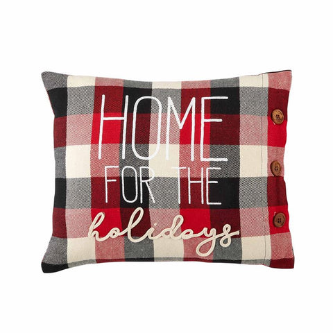 Home For The Holidays Buffalo Check Pillow
