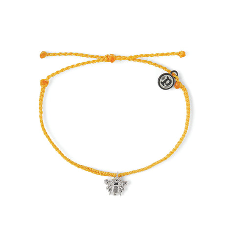 PURA VIDA BEE SILVER DARK YELLOW BRACELET