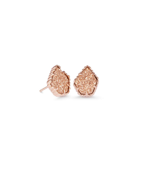Tessa Rose Gold Stud Earrings In Rose Gold Drusy Kendra Scott