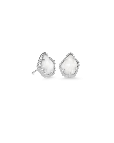 Tessa Silver Stud Earrings In White Pearl Kendra Scott