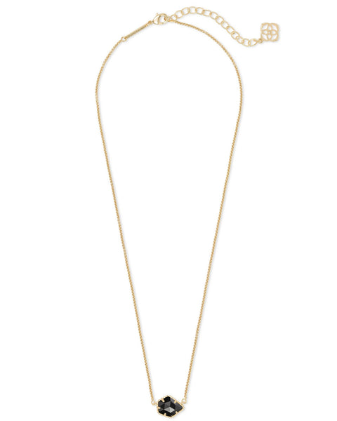 Tess Gold Pendant Necklace In Black Opaque Glass Kendra Scott