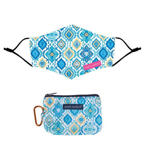 Mask Pouch Damask-Blue