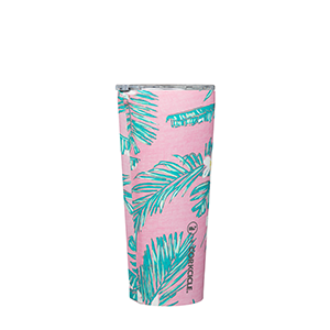 Vineyard Vines Pink Tropical Flowers Tumbler 24 Oz