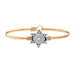 Sparkling Snowflake Bangle Bracelet  Brass Regular