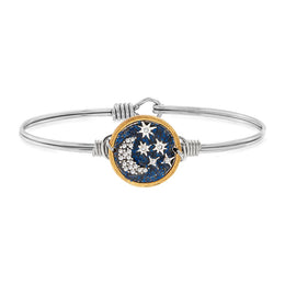 Starry Night Bangle Bracelet  Silver Petite