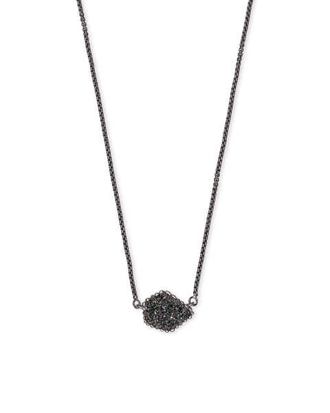 Tess Gunmetal Pendant Necklace In Black Drusy