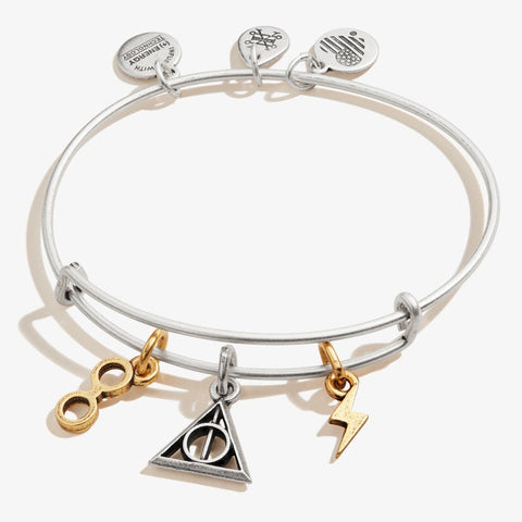 ALEX & ANI DEATHLY HALLOWS MULTI CHARM BANGLE TWO TONE