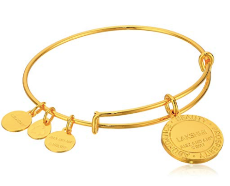 ALEX & ANI SAINTS AND SAGES LAKSHMI SHINY GOLD BANGLE BRACELET