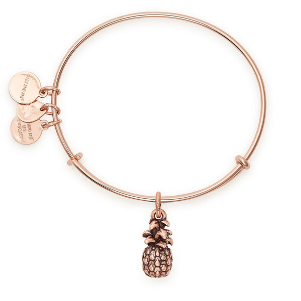 Pineapple Charm Bangle Shiny Rose Gold