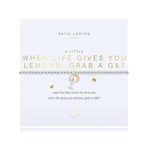 A Little When Life Gives You Lemons Grab A G&T Silver Bracelet