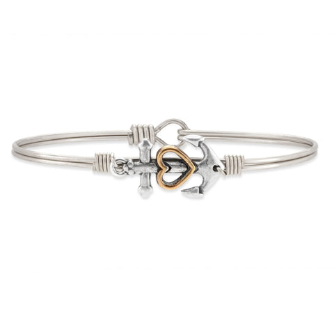 LUCA AND DANNI ANCHOR SILVER BANGLE BRACELET