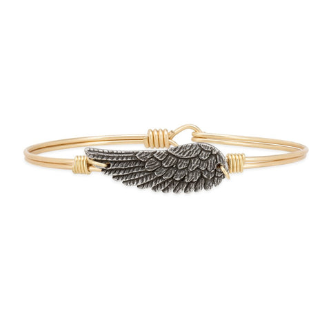 LUCA AND DANNI ANGEL WING BRASS BANGLE BRACELET PETITE