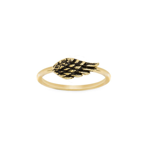 LUCA AND DANNI ANGEL WING GOLD RING SIZE 8