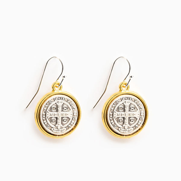 BENEDICTINE GOLD RIM EARRINGS