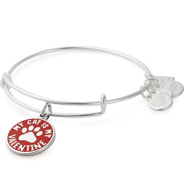 Charity By Design, My Cat Is My Valentine Charm Bangle Silver