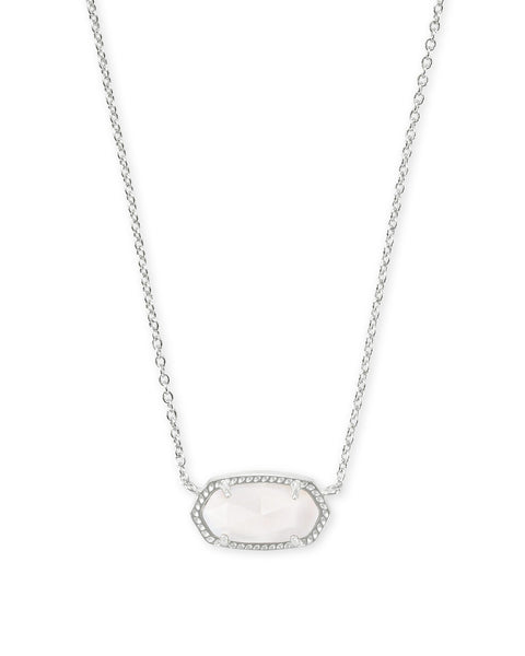 Elisa Silver Pendant Necklace In Mother Of Pearl