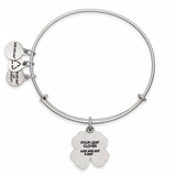 Four Leaf Clover Iv Silver Bangle Bracelet